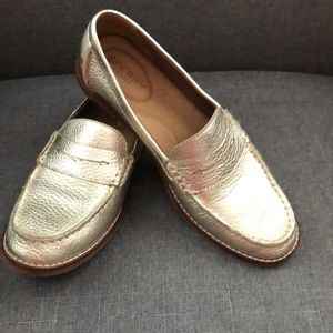 Gold leather Sperry loafers.   Ladies size 8.5